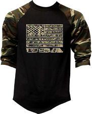Men's Camo Us Flag Camo 3/4 Sleeve Baseball Raglan T Shirt American Usa Army
