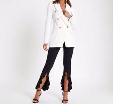 Women's Flared Frill Hem Trousers ladies High Waist Black asymmetric Pants 8-14