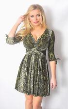 Sexy Green Print Wrap Style Stretchy Low Cut Short Dress clubwear Work Peasant