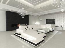 Wohnlandschaft Sofa Couch Design Sofa MESSANA U Recamiere LED Beleuchtung weiss