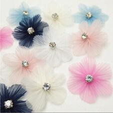 3/15/30pcs Organza Ribbon Flowers W/Rhinestone DIY Appliques Craft Wedding Decor