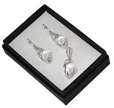 925 pendientes de plata/Set hecha con cristales de Swarovski 19mm Galáctica-Moonlight