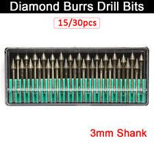 30x Diamond Rotary Dremel Burr Drill Engraving Bits Set For Plastic Tiles Brick