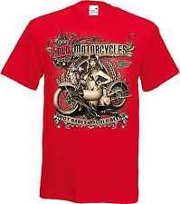 T Shirt in rot mit einem Biker-,Chopper,-&Old Schooldruck Modell Old Motorcycles