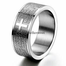 Men Women Stainless Steel Spanish Lord Prayer Cross Ring Wedding Band Size 6-11