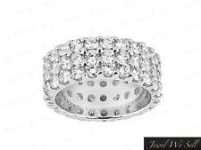 Genuine 5.00Ct Round Diamond 3Row Anniversary Eternity Ring 950 Platinum F Vs2