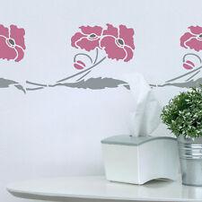 Coquelicots Fleurs Pochoir de The Stencil Studio. Mur réutilisable 10193