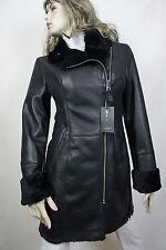 NEW 100% REAL GENUINE SHEARLING LEATHER BLACK COAT JACKET WINTER WARM FUR, XS-6X
