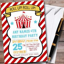 Rayas Rojas Personalizado Para Niños Invitaciones Fiesta de Cumpleaños de circo