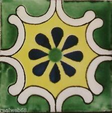 "C236- Mexican Handmade Talavera Clay Tile Folk Art 4x4""  Handpainted"