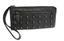 Purse Wrist Bag Briefcase XL Clutch Skull Rivets 7 Colors
