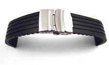 18 - 20 - 22 - 24 mm Silikon Uhrenband mit Faltschließe schwarz Uhrenarmband