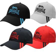 Lonsdale 2 Stripe cap londres capuchón gorra basecap negro blanco rojo azul Nuevo