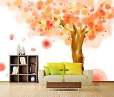 3D Cartoon orange tree Wall Paper Print Decal Wall Deco Indoor wall Mural