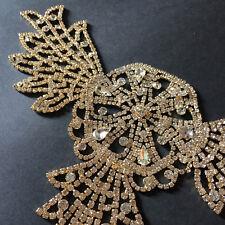 New listing Crystal Applique Diamante Gold Rhinestone Wedding Shower Dress Night Gown Wear