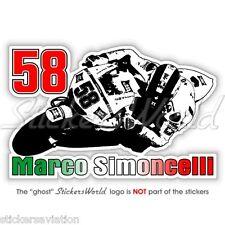 MARCO SIMONCELLI 58 Moto GP Racing 155mm Vinyl Fahrradhelm Sticker, Aufkleber