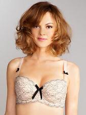 Bnwt La Senza Nude & Black Floral Lace Satin Bow Balconette Bra
