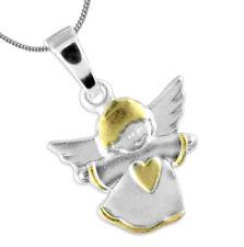 925 ECHT SILBER *** Anhänger Engel Schutzengel mit Herz vergoldet Kette optional