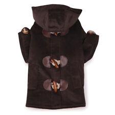 Fleece Toggle Peacoat  Hooded Coat Dog Jacket checked lined Chocolate Sz:Misc