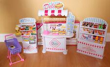 GLORIA DOLLHOUSE FURNITURE SUPERMARKET Food Display w/Shopping Cart PLAYSET