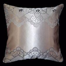 HC341a Lt. Antique Mauve Silver Grey Floral Jacquard Cushion Cover/Pillow Case