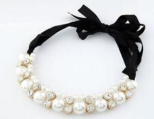 Perlas & Transparente Cristal Negros gargantilla de cinta de grueso declaración Babero Collar collar