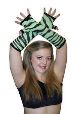 Donna Verde Zebra Animal Print Lunghi Guanti Halloween Fancy Dress goth punk emo