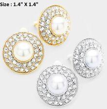 Circle Round Stud Clip Earrings Pearl Wedding Cocktail Crystal Prom Rhinestone