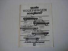 advertising Pubblicità 1977 VW DERBY/POLO/GOLF/SCIROCCO