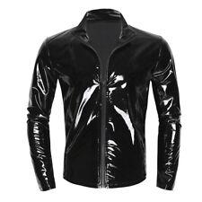 Sexy Herren Glänzend Langarmshirt Lackleder T-Shirt Tops Hemd Clubwear Schwarz