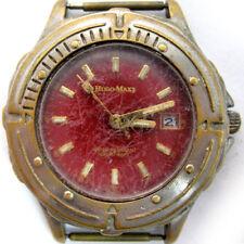 AUTHENTIC HUGO MAXX EURODESIGN 18K GOLD PL MENs MANs Wristwatch WATCH Red Dial