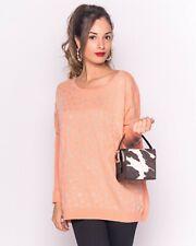 Lady's Knitted Long sleeve Sweet Heart print Oversize Long Knit Sweat Jumper Top