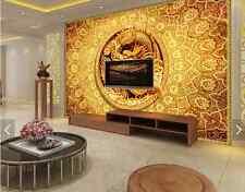 3D drago dorata Parete Murale Foto Carta da parati immagine sfondo muro stampa