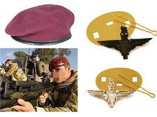 NEW Parachute Regiment Small Crown Silk Lined Maroon Beret + Cap Badges Para