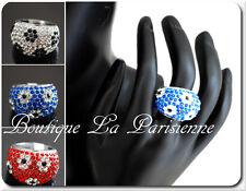 Luxus Ring Strass Damenringe Fingerringe Kristall Versilbert Blumen Paris Pavage