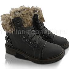 NUOVA linea donna Pelliccia Con Lacci Tacco Basso Lavoro Passeggio Stivaletti Invernali con numero di scarpe