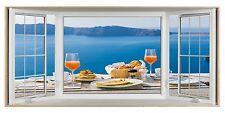 Breakfast in Greece 3D Effect Bay Window Picture Fabric Poster Sticker Wall Art