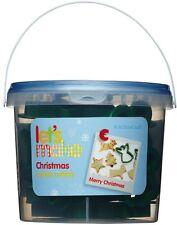 Navidad - 12 Galletas, Pasteles, Cortadores de galleta con almacenamiento Bañera