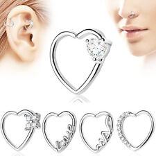 Pair 18G Zircon Heart Septum Nose Ring Helix Tragus Cartilage Earrings Piercing
