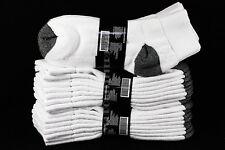 9-11, 10-13 Heavy Athletic Ankle Cut Anklet Cotton Black Heel & Toe Socks Unisex
