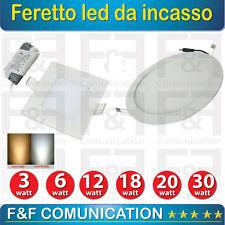 FARETTO LED INCASSO CARTONGESSO QUADRATO ROTONDO BIANCO 3W 6W 12W 18W LUCE LED