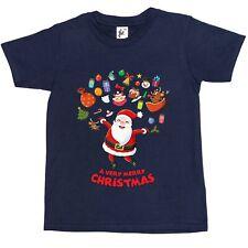 Merry Christmas Santa Jumping Joy Cake Tree Owls Kids Boys / Girls T-Shirt