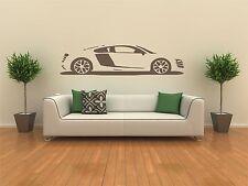 AUDI R8 auto adesivo vinile da parete Decalcomania Grafica parete, ARTE TRANSFER