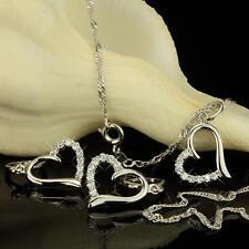 Set Collana con ciondolo cuore orecchini placcato oro 750 18 kt argento S2253