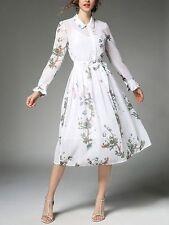 Elegante raffinato vestito abito corto manica lunga bianco fiori slim 3676