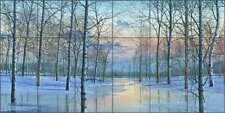 Landscape Tile Backsplash Mike Brown Winter Scene Art Ceramic Mural  MBA037
