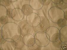 PINTURA STUDIO Tussah Silk Circles Embroidered Natural Brown Blue 1 yard + New