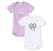 SCHIESSER Baby Body Sprüche Doppelpack Gr 56-104 Bodies Halbarm 100% BW NEU