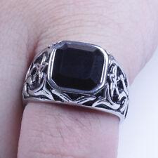 Men's Vintage Silver Stainless Steel Black CZ Biker Ring Size 8-12 SR99