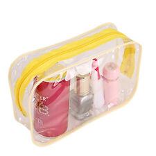 Clear-Transparent Plastic Pvc Travel Cosmetic MakeUp Toiletry Bag Zipper ColorQy